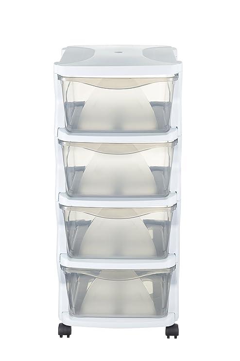 Bama Juntos – Cómoda con Ruedas, plástico, Blanco, 36 x 40 x 80 cm