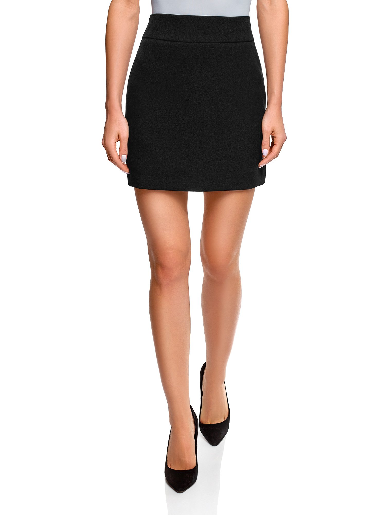 oodji Ultra Women's Basic Short Skirt, Black, 6 by oodji (Image #1)