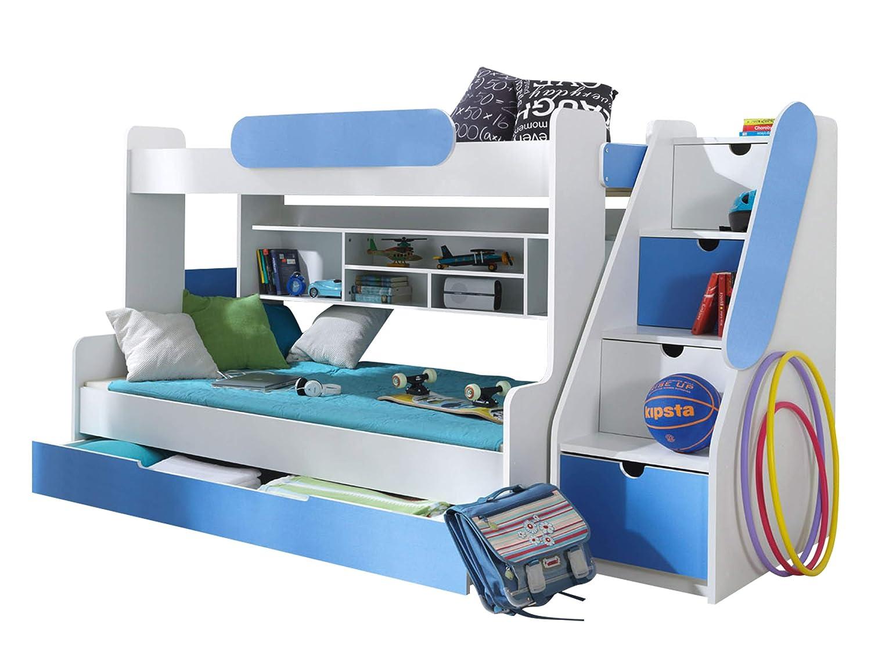 Etagenbett Segan Hochbett mit Bettkasten, Farbauswahl, Modern Bett für Kinderzimmer (Weißszlig; Blau, mit Top und Untere Matratze) Weiß   Blau mit Top und Untere Matratze