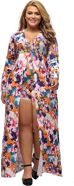 Lalagen Women\'s Floral 3/4 Sleeve Deep V Neck Plus Size ...