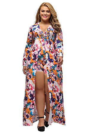 5b60ffd0e04 Women Sexy Plus Size Plunging V Neck Long Sleeve Floral Split Romper Maxi  Dress Jumpsuit at Amazon Women s Clothing store