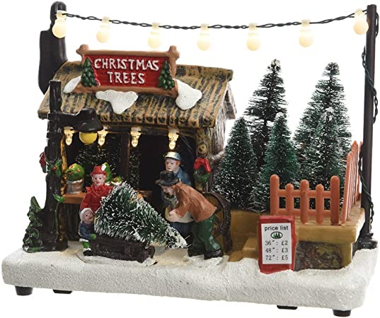 Alberi Di Natale In Vendita.Scena Vendita Di Alberi Di Natale 18cm Amazon It Casa E Cucina