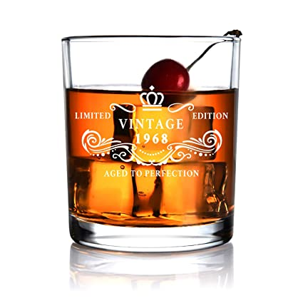 1968 50th Anniversary Birthday Gift For Men And Women Whiskey Glass Gifts
