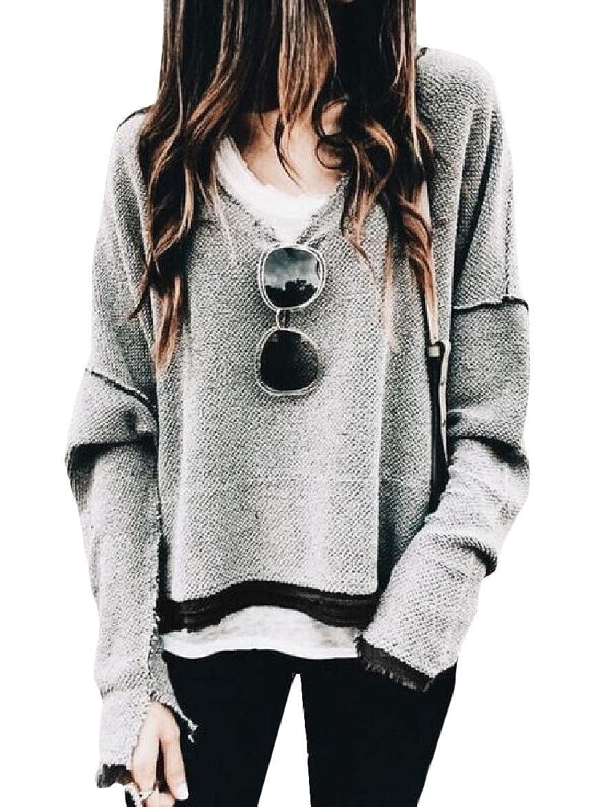 willwinWomen WillingStart Women Solid V Neck Casual Long-Sleeve Loose Pullover Sweatshirts