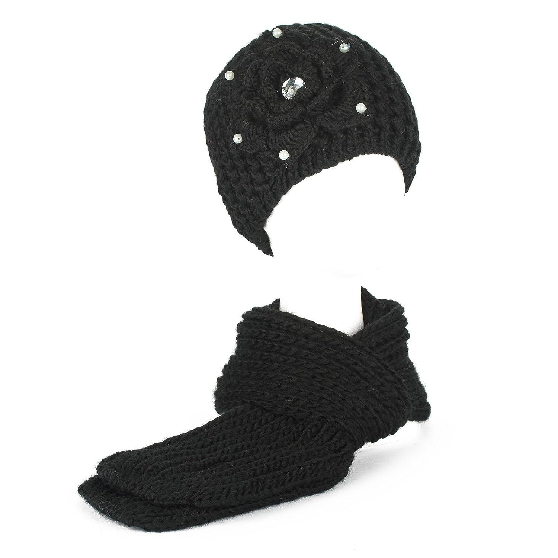 Damen Gestrickter Beanie & Schal Set Mit Blumendesign Braun Hat To Socks