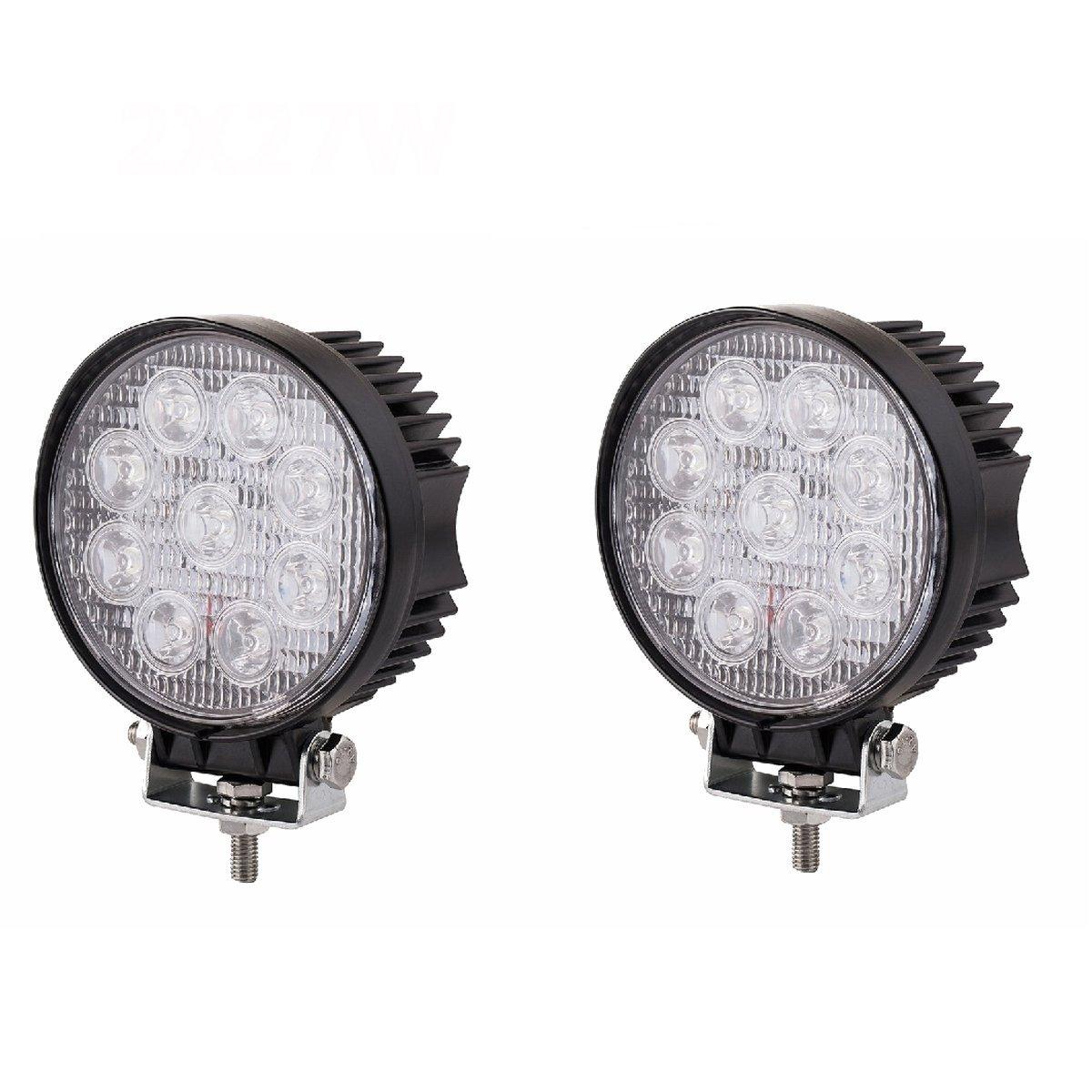 MCTECH 2 X 27W Rotondo FARO DA LAVORO LUCE DI PROFONDITA' A LED 27W 12V 24V LED Lampada Lavoro Offroad Faro SUV UTV ATV di retromarcia IP67