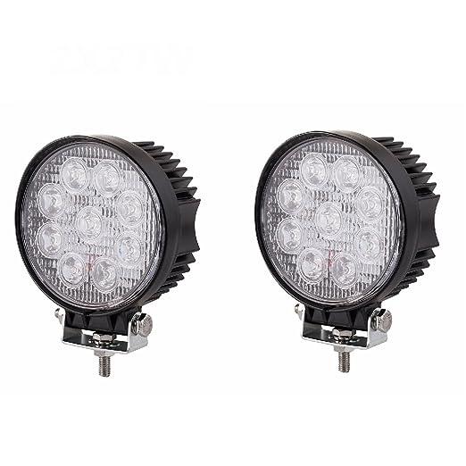 5 opinioni per MCTECH 2 X 27W Rotondo FARO DA LAVORO LUCE DI PROFONDITA' A LED 27W 12V 24V LED