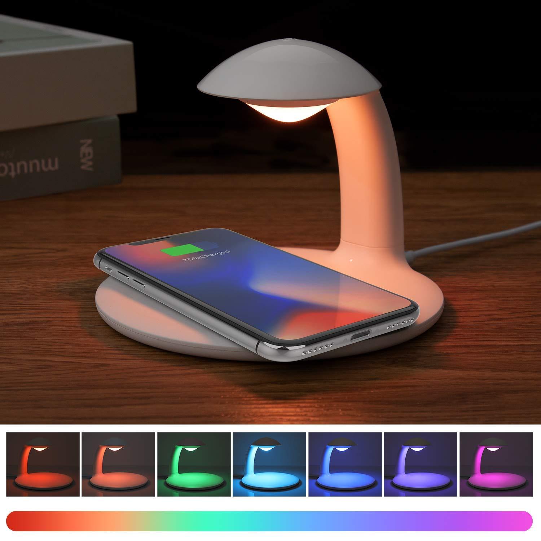 Lampada da tavolo a LED dimmerabile con caricabatterie wireless Qi, 4 Luminosità 5 Temperature di Colore, pieghevole lampada da comodino lampada soggiorno lampada da terra per Samsung Galaxy e iPhone 4 Luminosità 5 Temperature di Colore AURSEN