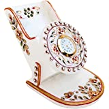 Handicrafts Paradise Rajasthani Work Marble Mobile Holder with Clock (9.5 cm x 10.9 cm x 10.2 cm)