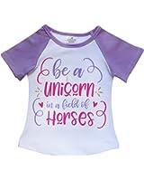 So Sydney Toddler & Girls Summer Raglan Flutter Sleeve Novelty T-Shirt
