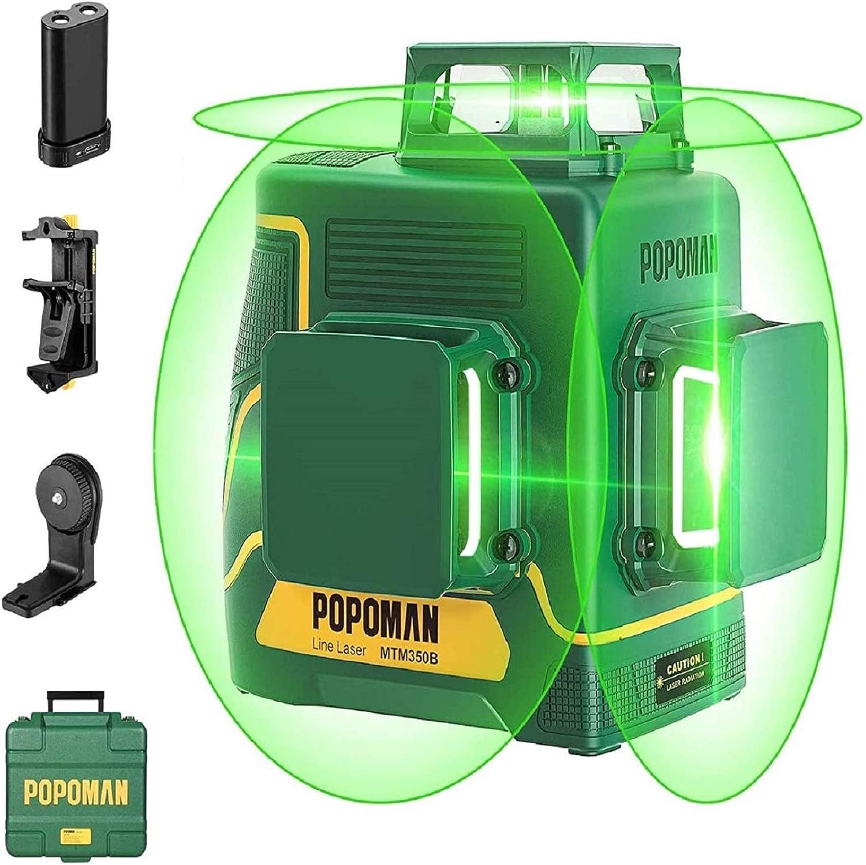 POPOMAN Nivel Láser Verde 45m, 3x360° Profesional Línea Laser, USB Carga, Autonivelación, Función de Pulso, bolsa de transporte(incl. 5200mAh batería de litio y Base Magnética)