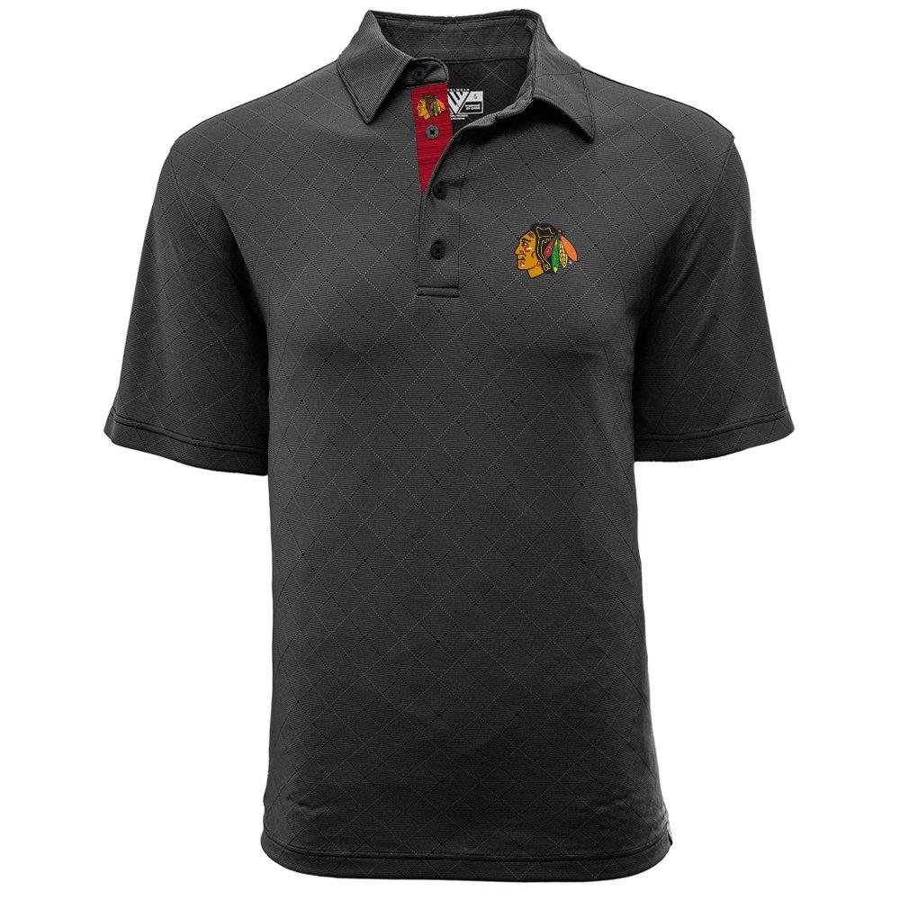 Medium Levelwear LEY9R NHL Chicago Blackhawks Mens Barton Icon Heather Polo T-Shirt Charcoal