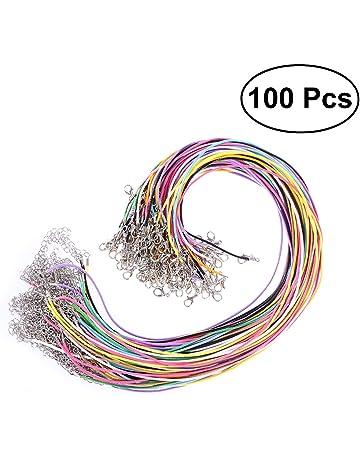 ULTNICE 100Pcs Waxed cadena cera cordón collar con el corchete langosta para joyería que hace color