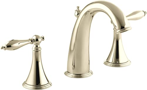 KOHLER K-310-4M-AF Finial Traditional Widespread Lavatory Faucet, Vibrant French Gold