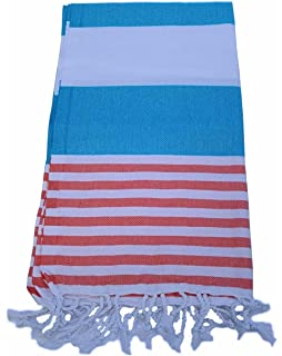 since1980 Turquoise & Coral 100% Cotton Prewashed Bath & Beach Towel Turkish Towel Gym Towel