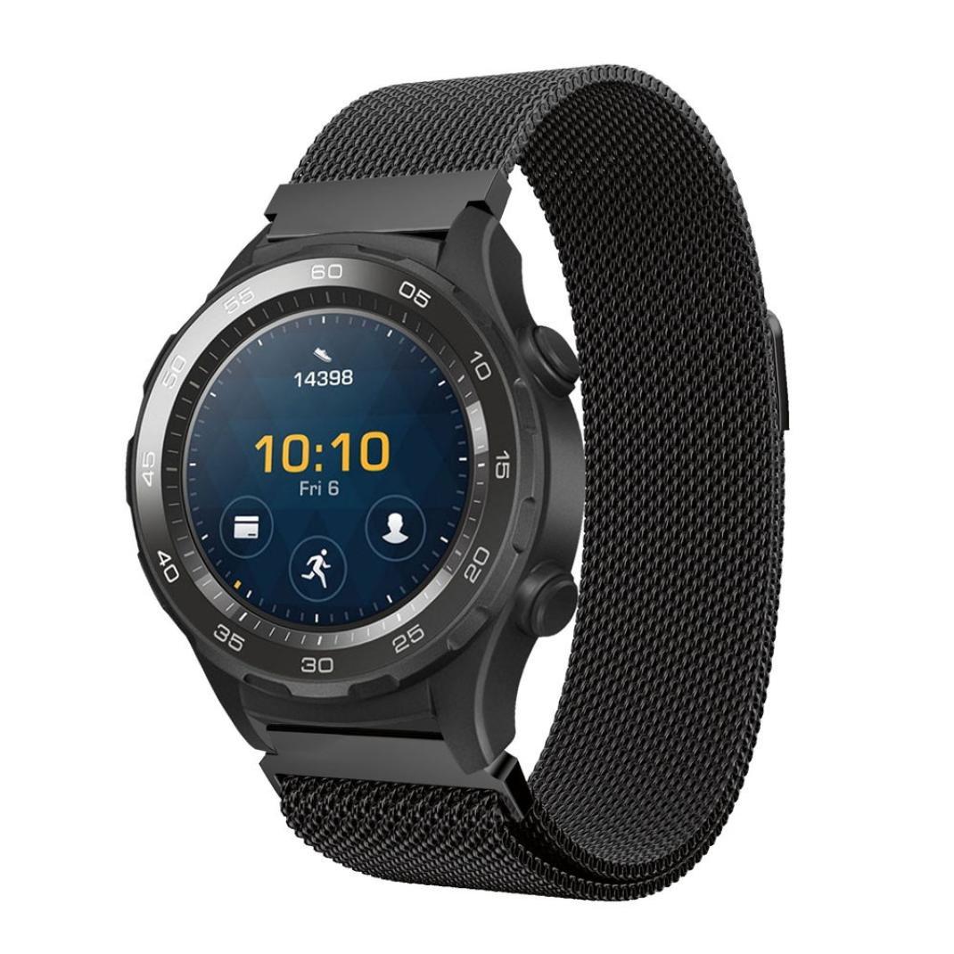 For Huawei Watch 2、Outsta Milaneseステンレススチール時計バンドストラップブレスレット free マルチカラー Outsta ブラック ブラック B077RT6VF7