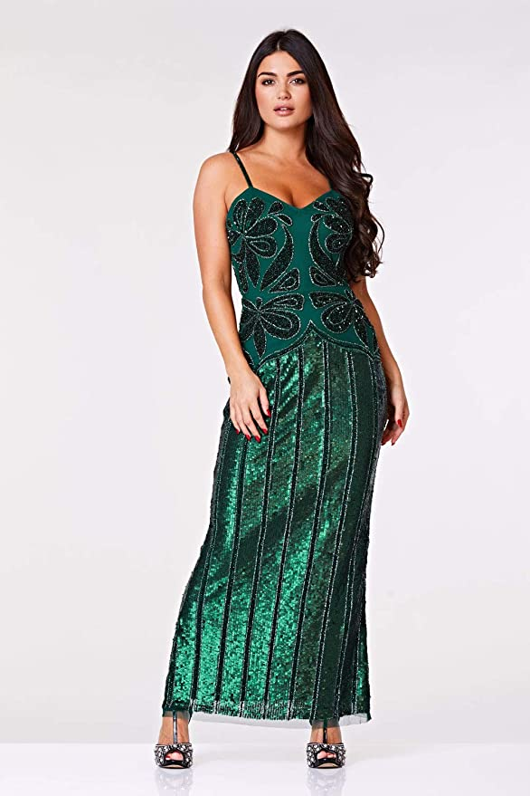 1920s Downton Abbey Dresses gatsbylady london Edna Maxi Embellished Occasional Prom Dress in Green £185.00 AT vintagedancer.com