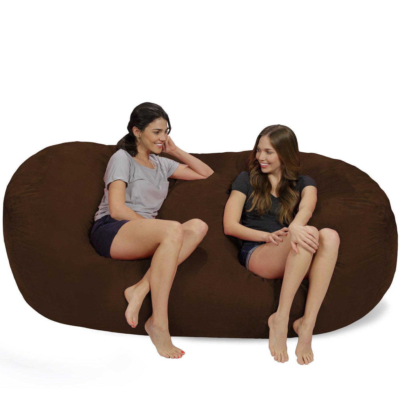 Chill Sack Memory Foam Bean Bag Lounger, 7.5-Feet, Chocolate