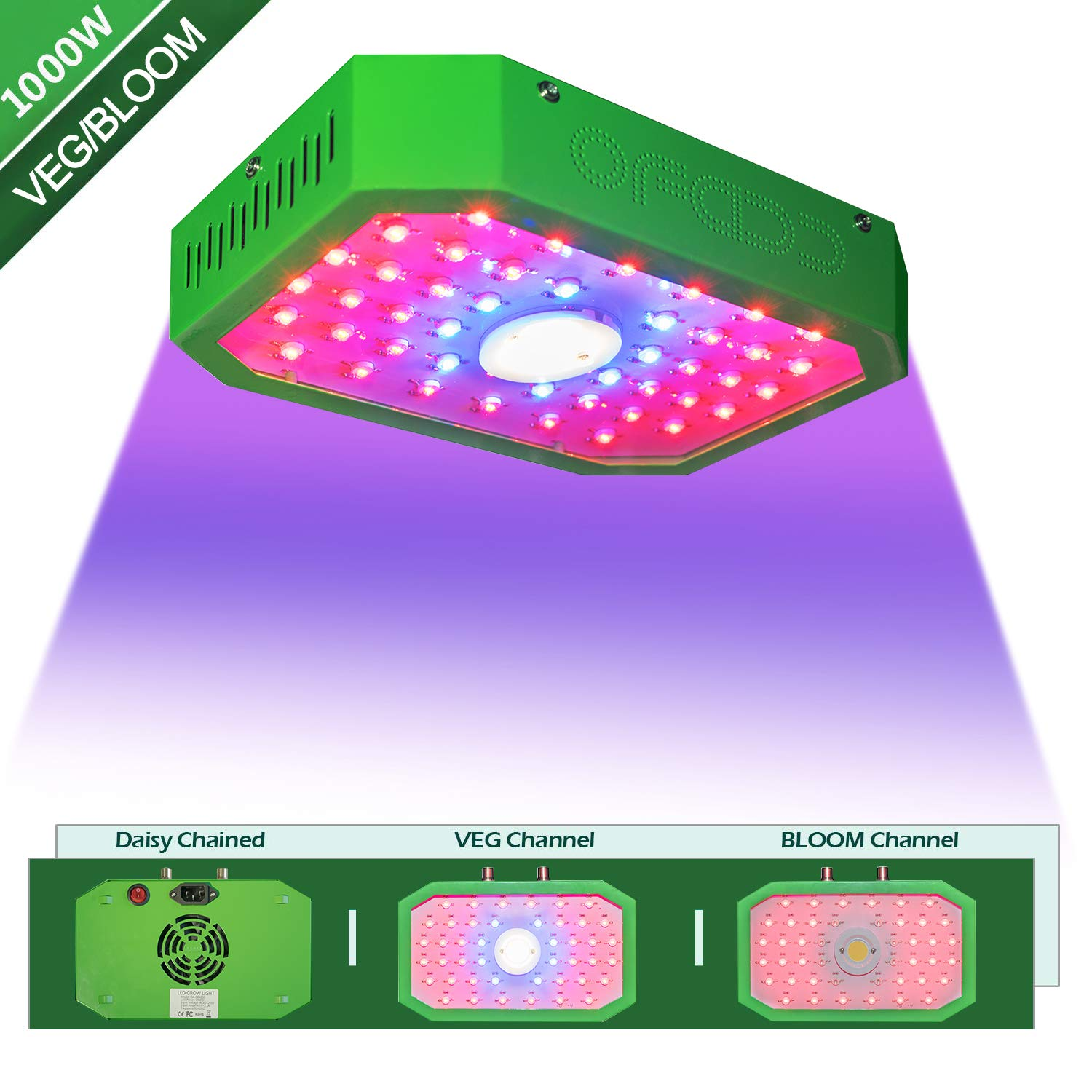 COB 1000W Led Grow Light Full Spectrum Plant Light Growing Lamps with Veg&Bloom Switch for Greenhouse Hydroponic Indoor Plants Veg and Flower(Dual Chip) by OFAD