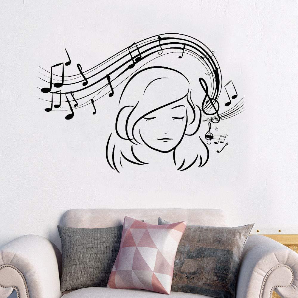nkfrjz Musical Girl Decalcomania della Parete Vinile Amante Wall Sticker Musica Teen Girls Room Decor Note Musicali Rimovibili Wall Art Murale 57x39cm