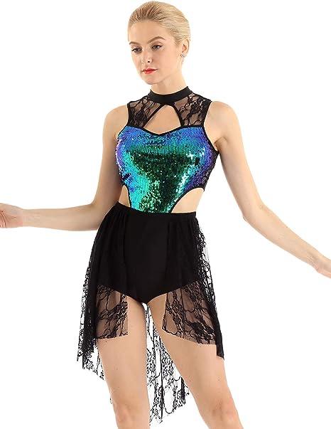 TiaoBug Vestido de Ballet Mujer Maillots Conjunto de Danza Vientre ...