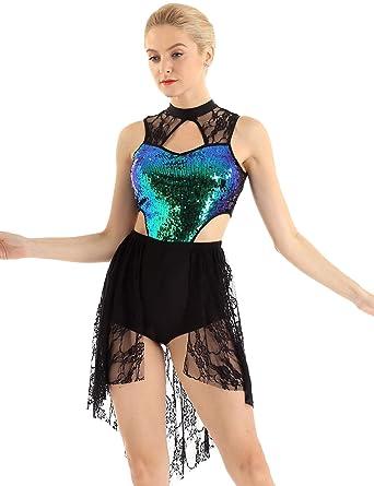dPois Vestido de Ballet Lentejuelas con Falda para Mujer Maillot ...
