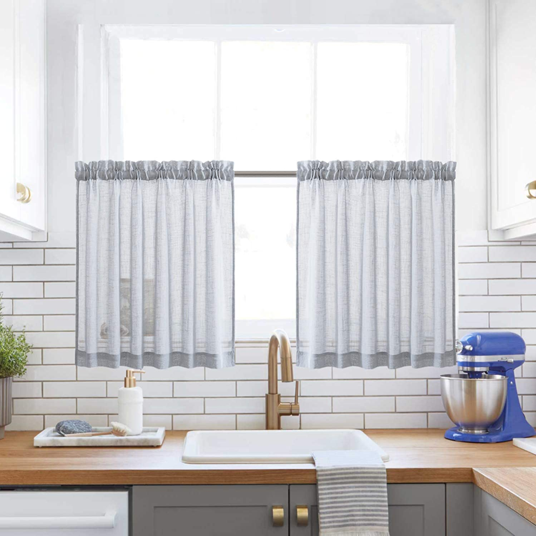 "XWTEX Grey Kitchen Tier Curtains Rod Pocket Linen Like Privacy Semi Sheer Drapes Half Window Curtain Panels for Bathroom, 2 Panels, 36"" L"