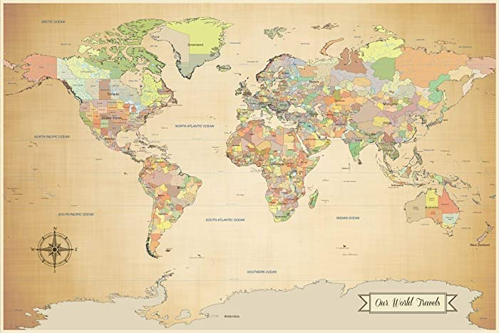 Amazon.com: Push pin world map - world map with pins ...