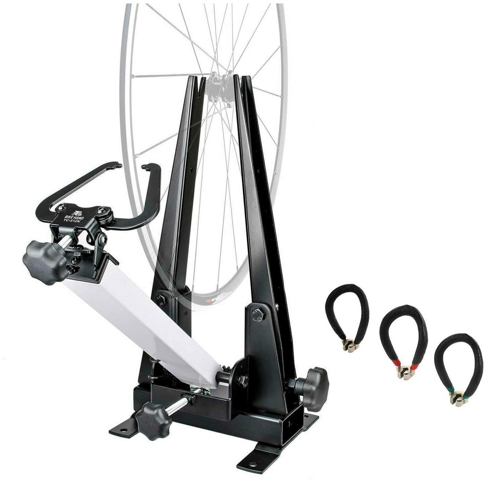 Bikehand Bike Wheel Professional Truing Stand Bicycle Wheel Maintenance - Great Tool for Rim Truing with Free Spoke Wrenches and Heavy Duty Base by Bikehand