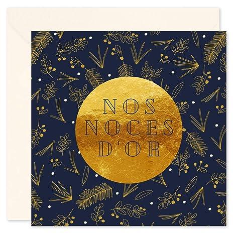 8 Cartes Invitation Anniversaire 50 Ans De Mariage Et 8 Enveloppes Noces Dor Format 10x15 Cm Verso Vierge Pour écrire Popcarte Chic