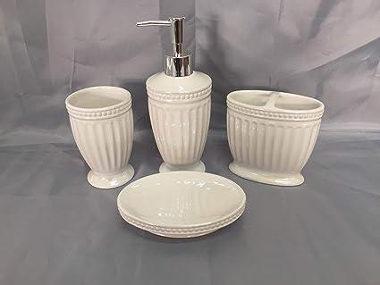 4 Piece Elegant Bathroom Ceramic Accessory Set #901