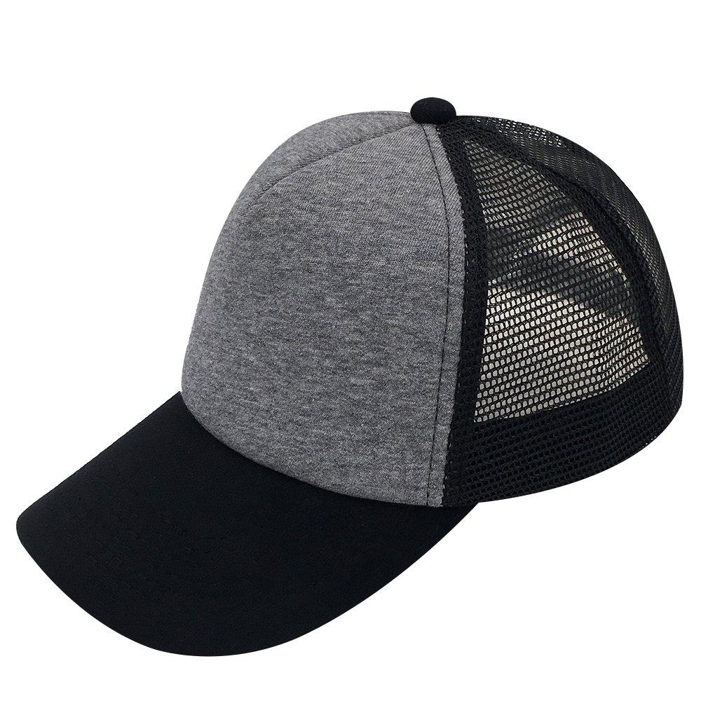 Amazon.com  Plain Kids Baseball Cap Youth Mesh Trucker Blank Cap Adjustable  Snapback (Black Blue)  Clothing 367c588f032