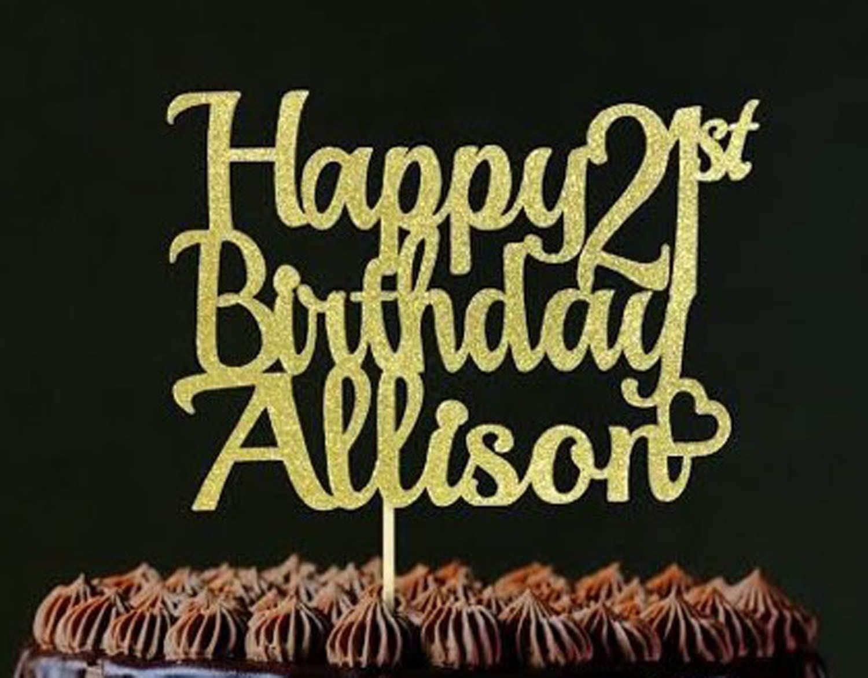 Fashionista Custom Name Happy Birthday Cake Topper Happy Birthday Personalized Cake Topper Lipstick and Heels Decorations Elegant Topper