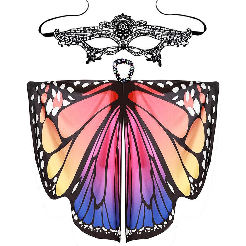 Foulard Ch/âle Fille pour D/éguisement Costume Accessoire pour Cosplay F/ête 168 * 135cm Balock Papillon Ailes Cape Les Yeux band/és A Femmes Papillon Ailes Ch/âle /Écharpes Dames Nymphe Pixie Poncho