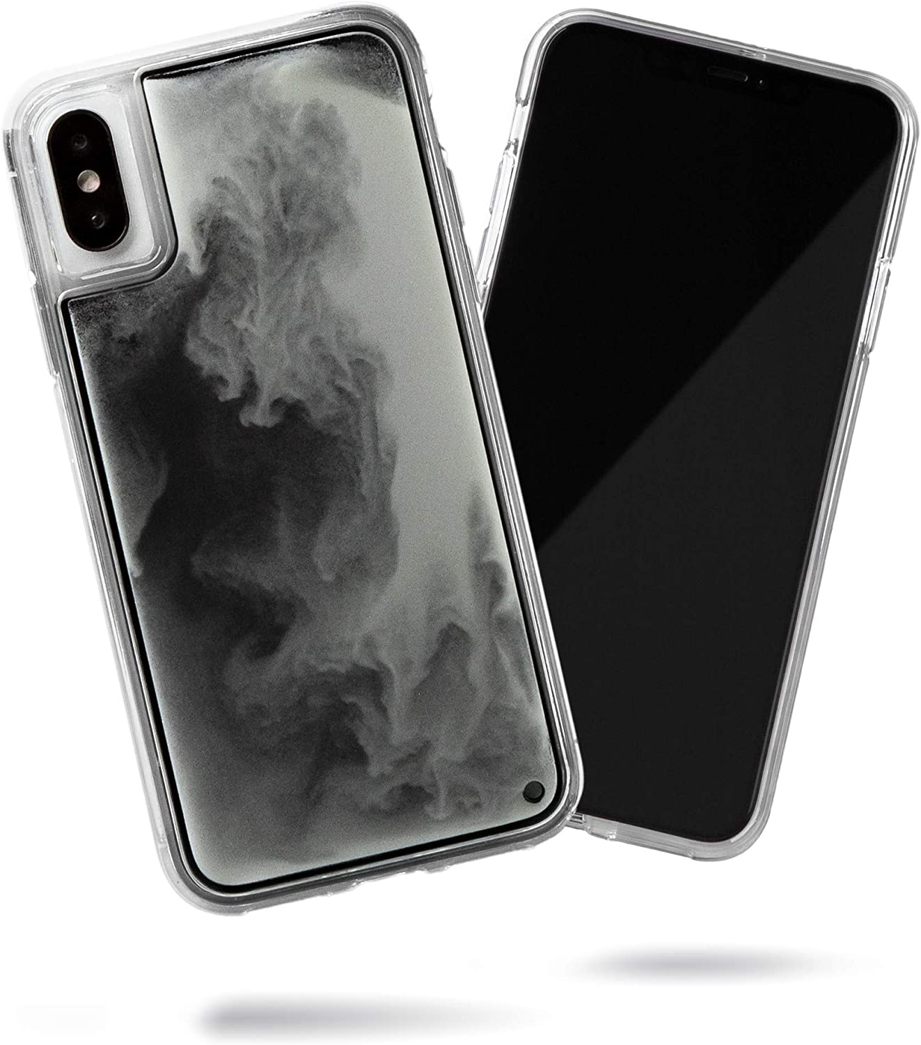 SteepLab Flowing Neon Sand Liquid Case for iPhone Xs & iPhone X - Full Body Protection with Raised Bezel - Hi Contrast Black n White