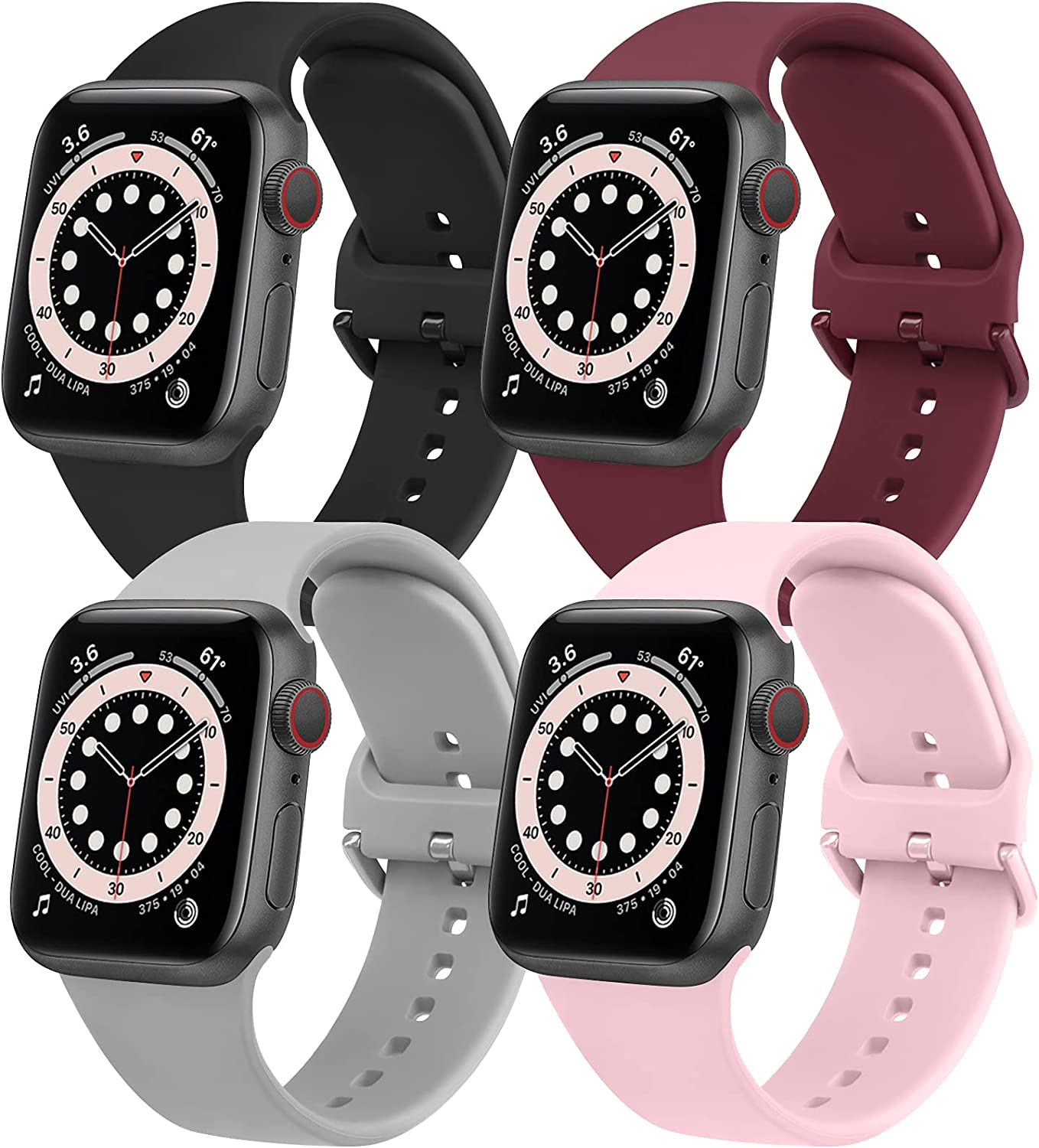 [Pack 4] YILED Replacement Bands Compatible with Apple Watch Bands 44mm 42mm for Women Men, Soft Bands Compatible with iWatch SE & Series 6 5 4 3 2 1, Black+Wine Red+Gray+Pink, 42mm/44mm