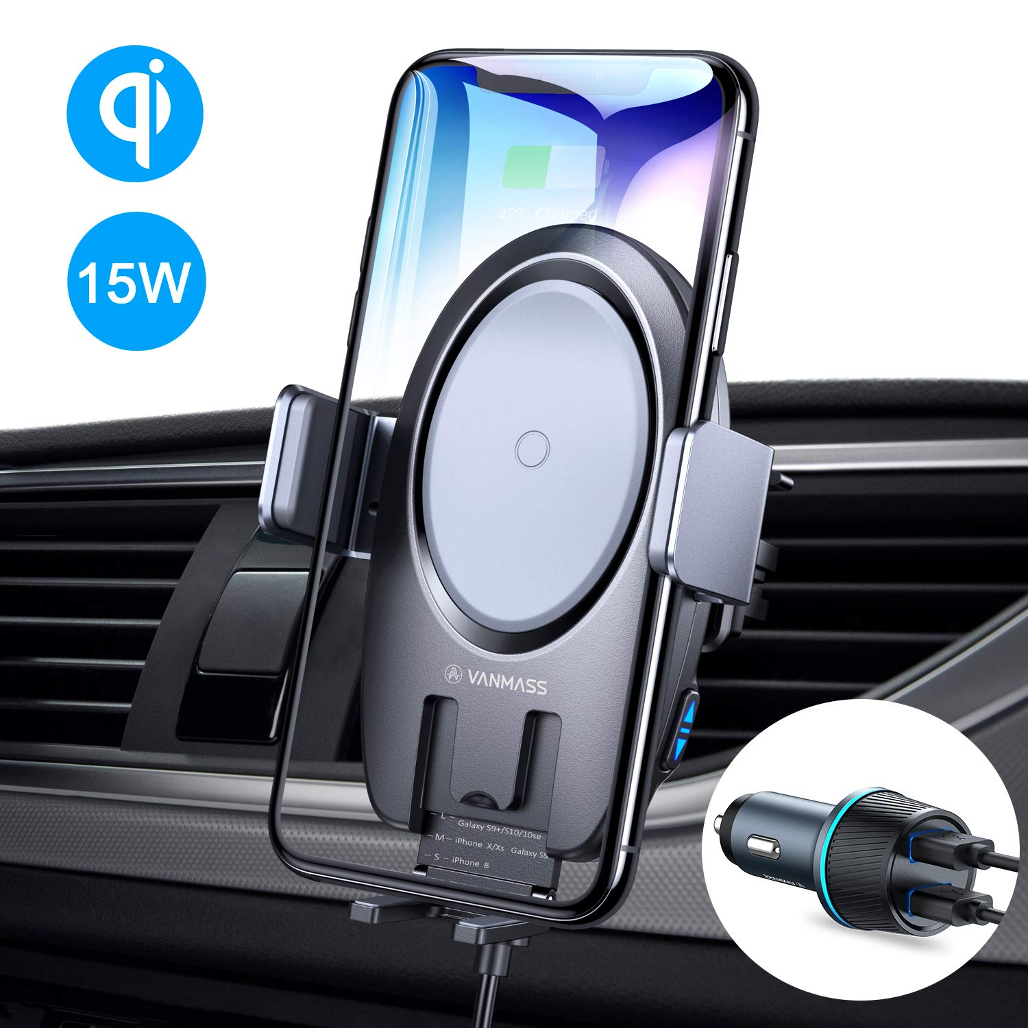 VANMASS Wireless Car Charger, 15W Qi Fast Charging Auto-Clamping Car Mount, Air Vent Phone Holder Compatible with iPhone 11/11 Pro/Pro Max/XS MAX/XS/XR/X/8, Samsung Note 10/S10/S9/S8/S7, Pixel/LG by VANMASS