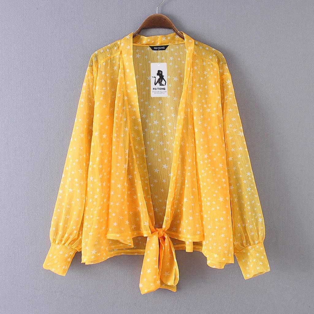 Mujeres Casual Top de Gasa Camisa de Lunares Suelta con Manga de Campana Camisas de Blusa Casual de Mujer Tops: Amazon.es: Ropa y accesorios
