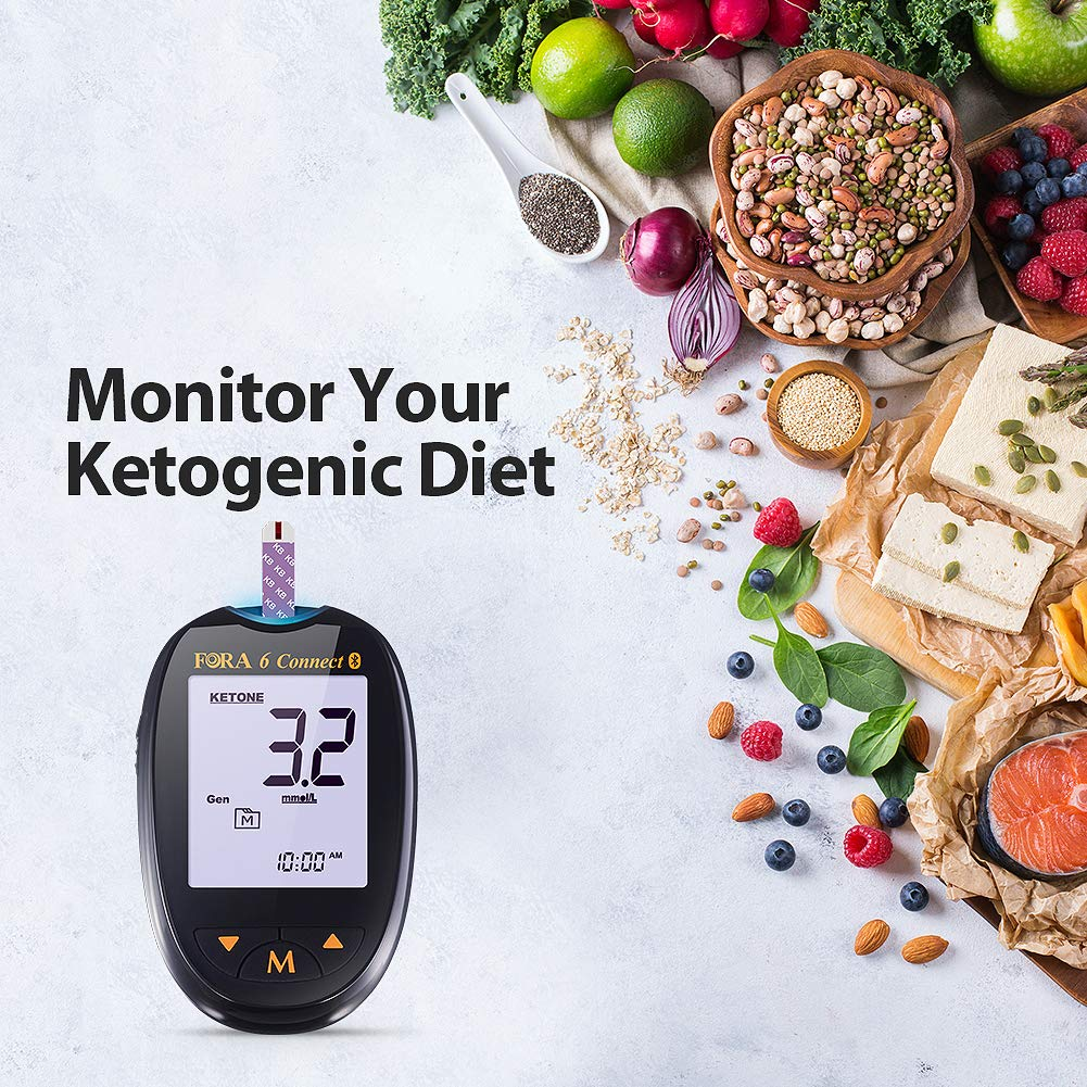 FORA 6 Connect Blood Ketone Testing Meter Kit to Monitor Your Ketogenic Low Carb Diet and Nutritional Ketosis via Smartphone App, 1 Meter, 1 Lancing Device, 100 Lancets, 20 Ketone Strips, Carry Case by FORA