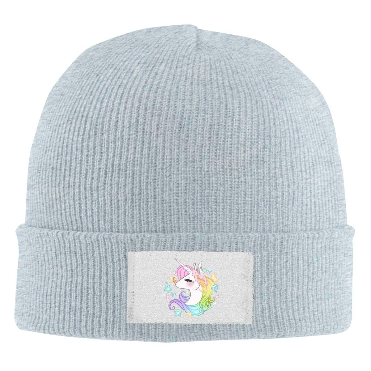 Stretchy Cuff Beanie Hat Black Dunpaiaa Skull Caps Cute Unicorns Winter Warm Knit Hats