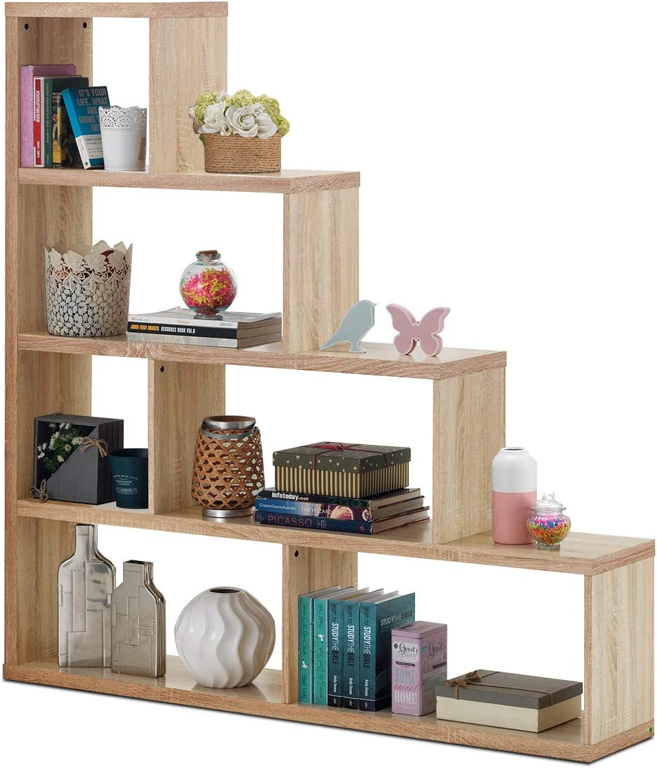 Tangkula 4-Shelf Ladder Corner Bookshelf, Modern Simple Style Storage Bookcase, 61 L x 11 W x 64 H, 4-Layer Ample Storage Space for Home Furniture, Wooden Storage Bookcase Natural