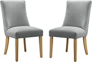 Amazon Brand – Ravenna Home Lamberton Curved-Back Dining Chair with Nailheads, Set of 2, 19.5