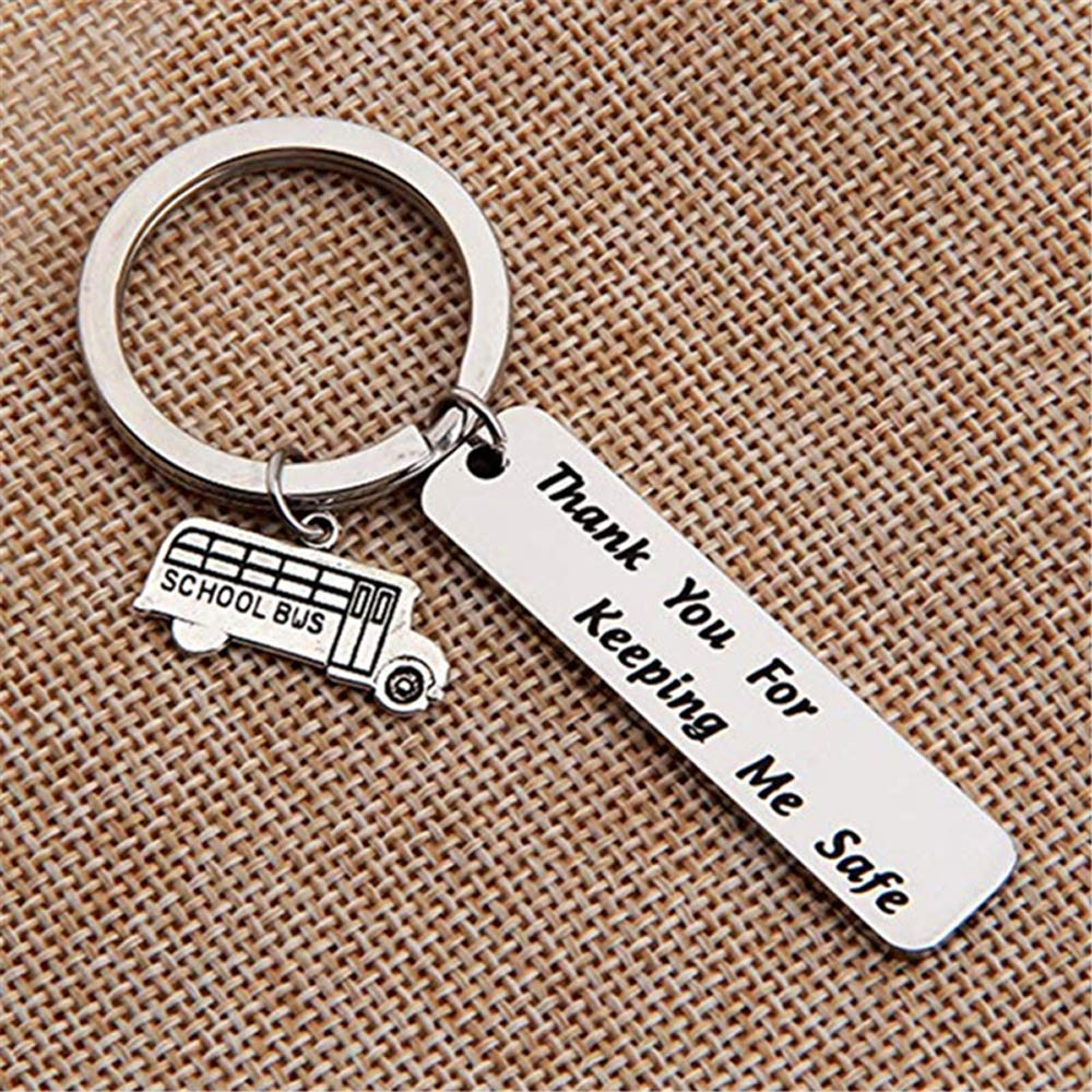 Schoolbus Bus Drivers Appreciation Gifts Personalized Bus Driver Key Chains Thank You for Keeping Me Safe Bus Driver Keychain