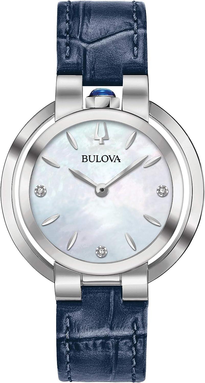Bulova Womens Analogue Classic Quartz Watch with Leather Strap 96P196