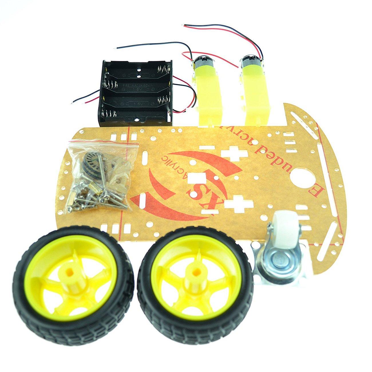 Laqiya 2WD Smart Robot Car Chassis Kit with Speed Encoder Battery Box Arduino 2 Motor 1:48