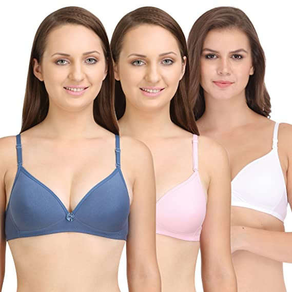 BODYCARE Pack of 3 Lightly Padded Bra in Grey-Pink-White Color - E6552GRYPIW cff06f306