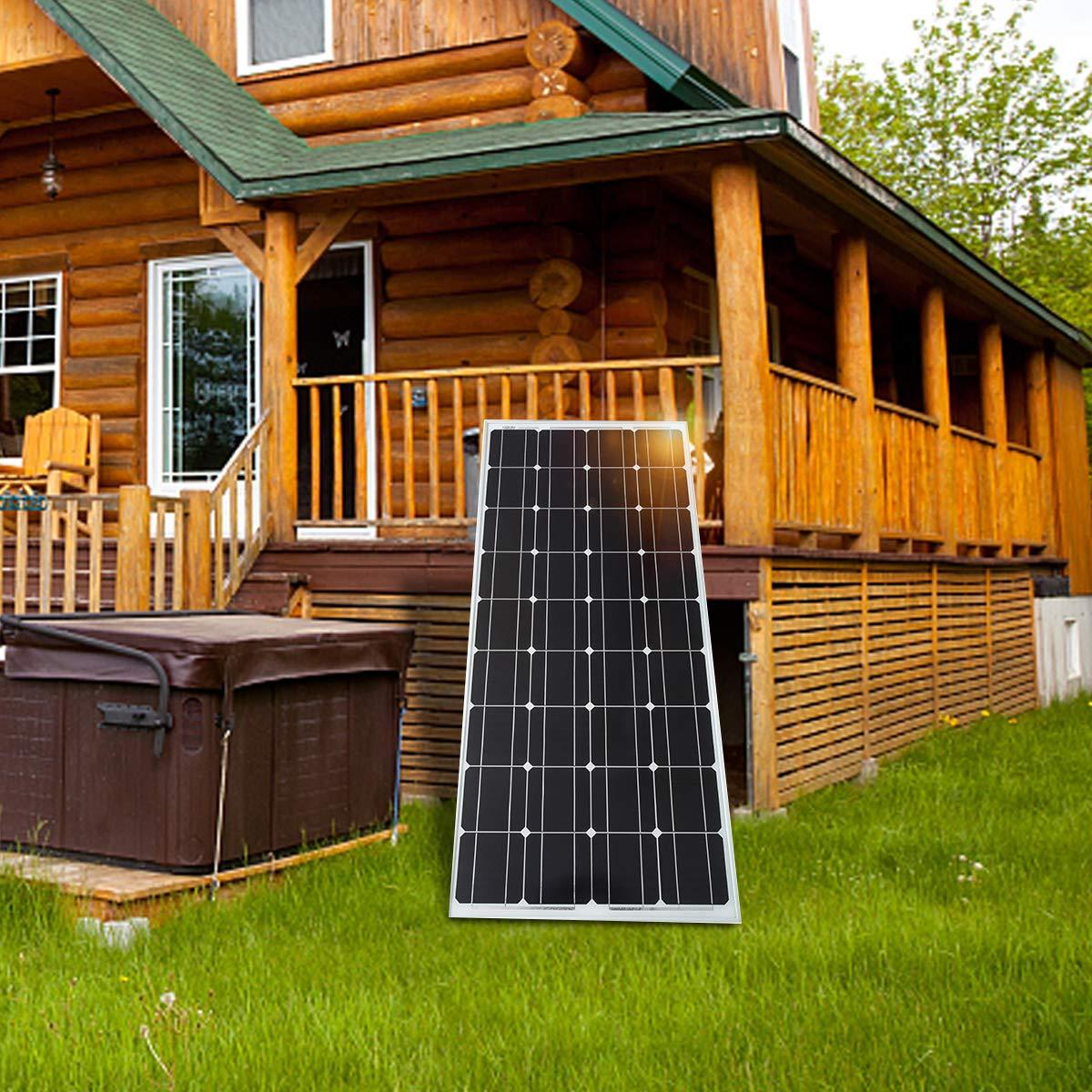 SARONIC 100W 12V Solarpanel Monokristallines Photovoltaik-PV-Modul zum Aufladen eines 12V in Reisemobil Boot oder Yacht oder au/ßerhalb des Stromnetzes Wohnwagen Wohnmobil