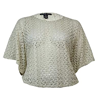 Style Co Womens Crochet Dolman Poncho Top Xl Creme Brulee At