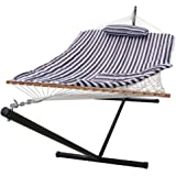 Lazy Daze Hammocks 12 Feet Steel Stand with Rope Hammock Combo, Quilted Polyester Pad and Pillow, Brown/White Stripe