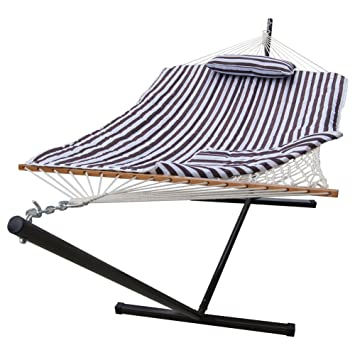 lazy daze hammocks 12 feet steel stand with rope hammock  bo quilted polyester pad and amazon     lazy daze hammocks 12 feet steel stand with rope      rh   amazon